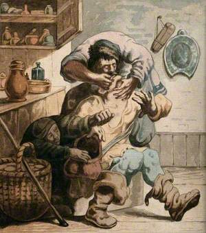 A Tooth-Drawer Extracting a Tooth from a Seated Patient Whilst a Woman Steals from His Bag