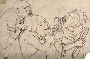 A Tooth-Drawer Using Pincers to Extract a Tooth from an Old Woman, Her Husband Agonisingly Observes the Situation