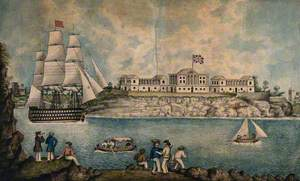 Malta: Royal Naval Hospital or Bighi Hospital, with Sailors Dancing on the Shore