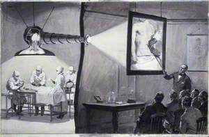 A Periscope Being Used above an Operation Which Is Projected onto a Lantern Screen for a Lecture in the Adjoining Room