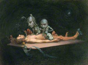 An Unconscious Naked Man Lying on a Table Being Attacked by Little Demons Armed with Surgical Instruments; Representing the Effects of Chloroform on the Human Body
