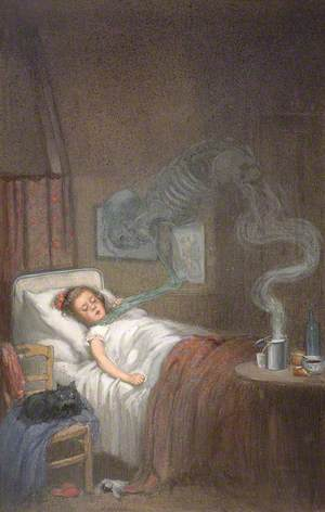 A Ghostly Skeleton Trying to Strangle a Sick Child; Representing Diphtheria