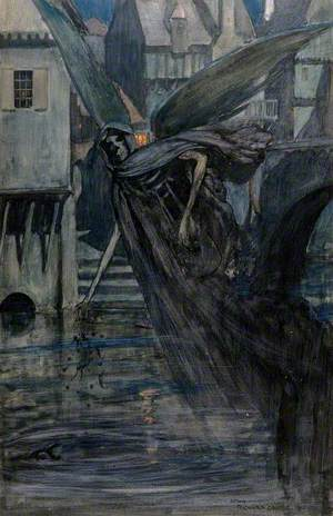 The Angel of Death, a Winged Skeletal Creature, Drops Some Deadly Substances into a River near a Town; Representing Typhoid