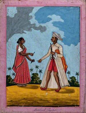 Moorish Tailor and Wife Offering Him Betel Leaves