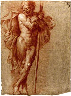 A Standing Male Nude with Cloak and Arms Folded around a Staff