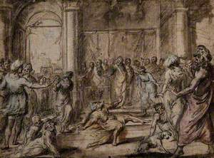 The Death of Ananias: An Elderly Bearded Man Falling to the Ground before a Large Crowd of Onlookers