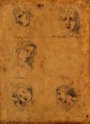 Five Faces Expressing Human Passions (Clockwise from Top Left): Compassion, Sadness and Dejection of Heart, a Profile and Frontal View of Dejection, and Sadness
