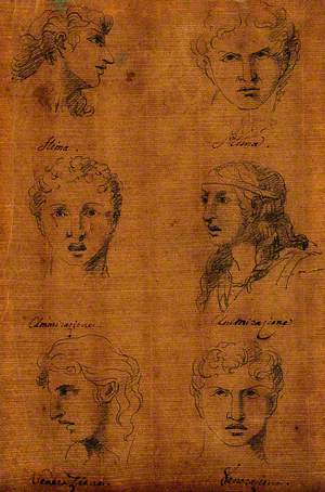 Six Faces Expressing Human Passions: Profiles and Frontal Views of Admiration, Desire and Veneration