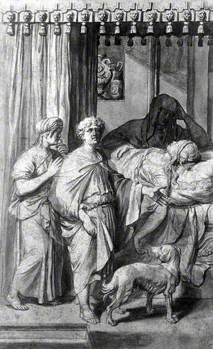 A Sick, Dying or Dead Woman Lying on a Bed in the Presence of Three Figures