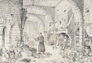 An Alchemist in a Long Robe Standing Reading above an Open Chest of Books Which He Has Rifled Through; A Large Vaulted Hall Surrounds Him, Littered with Alchemical Apparatus