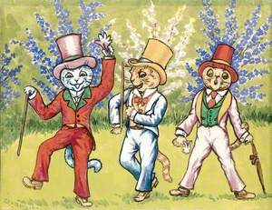 Three Cats Performing a Song and Dance Act