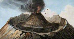 Mount Vesuvius: Interior of the Crater Showing the Little Mountain Inside It, with Spectators