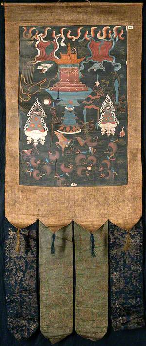 Attributes of the Six-Handed Mahākāla in a 'Rgyan Tshogs' Banner