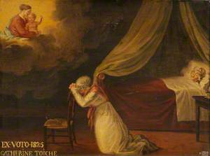 Votive Picture: A Woman Praying to the Virgin and Child for a Woman in Bed