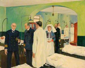First World War: The Surgeon Rear Admiral Visiting a Ward at the Royal Naval Hospital, Haslar