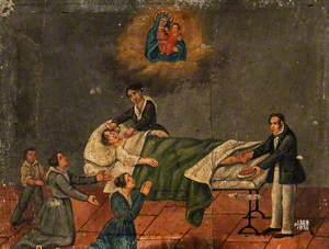 Votive Picture: Three People Pray to the Virgin and Child for a Patient in Bed