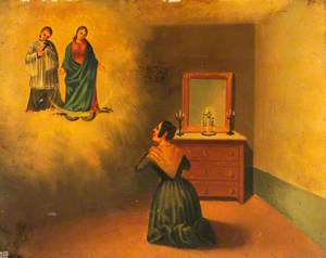 Votive Picture: A Woman by Her Dressing Table Praying to the Virgin Immaculate, Attended by a Priest (?)