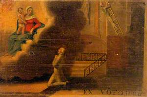 Votive Picture: A Man Praying to the Virgin and Child for a Man about to Fall from a Ladder
