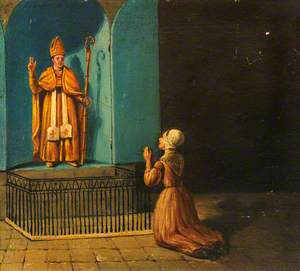 Votive Picture: a Woman Praying before the Statue of a Bishop
