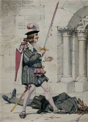 Richard III Holds a Bloody Sword, the Dead Body of Henry VI Lies on the Ground