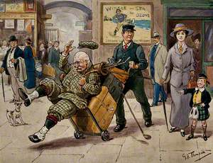 In a Railway Station: An Elderly Golfer Is Being Knocked Down by a Luggage Porter Who Is Looking at a Beautiful Young Woman