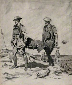 First World War: Two Men Carrying a Stretcher among the Trenches in France