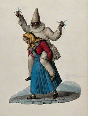 An Old Woman Is Carrying a Masked Man Wearing a White Pointed Hat on Her Shoulders, Commedia dell'Arte (?)