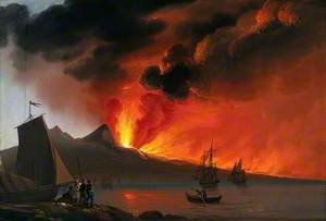 Italy (?): A Volcano Erupting in the Background; Boats and Sailors in the Foreground