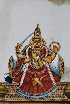 A Four-Armed Indian Goddess with Her Lower-Right Hand Raised in a Abhaya Mudra, Upper-Right Holding a Sword and Her Upper-Left Arm Holding a Chakra