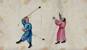 Chinese Sword Swallower and Entertainer Swinging a Rope with Cast Metal Weights Attached to It