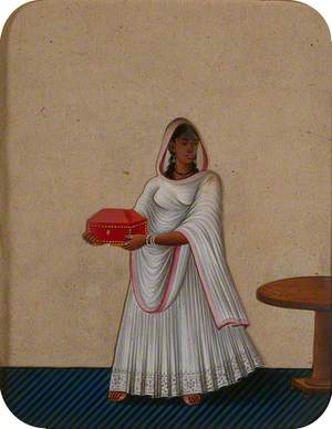 A Maidservant Holding a Jewellery Box
