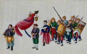 A Procession with Figures Carrying Swords and Shields