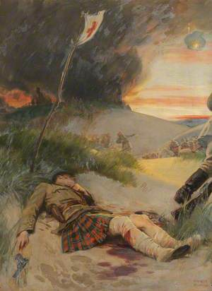 First World War: A Scottish Soldier, Wearing the Kilt, Lying Wounded on a Battlefield