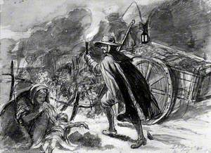 A Man with a Torch Walking alongside a Cart of Plague Victims; a Woman is Holding a Dead Child