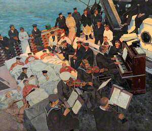 First World War: Wounded Sailors Listening to Musicians Playing on Board a Ship