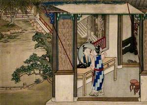 A Chinese Lady Asleep Indoors, a Maid Stands by a Willow Tree Outside
