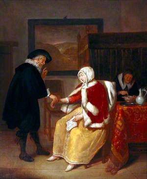 A Physician Taking the Pulse of a Young Woman, While an Old Maid Prepares Gruel for Her