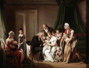 A Man Vaccinating a Young Child Held by Its Mother, with Other Members of the Household Looking On