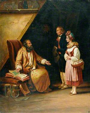 A Young Couple Visit a Savant Who Consults Ancient Volumes in Order to Provide Counselling to Them