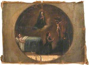 Votive Picture: A Woman Praying to Christ Crucified for the Health of a Sick Child in Bed, the Virgin Above