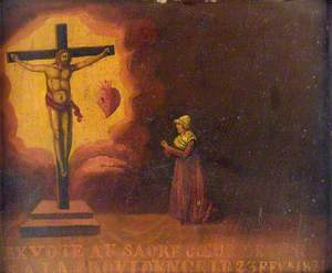 Votive Picture: A Woman Praying to the Sacred Heart of Jesus