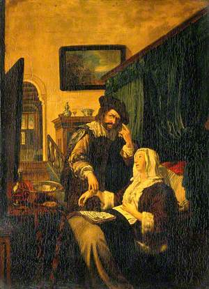 A Physician Taking a Lady's Pulse