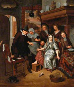 A Surgeon Preparing to Let Blood from the Foot of a Girl, in the Presence of Five Other Figures