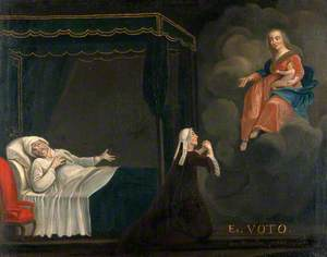 A Sick Man in Bed, a Woman Praying to the Virgin and Child