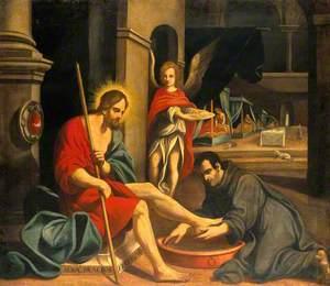A Monastic Saint Washing Christ's Feet in a Hospital