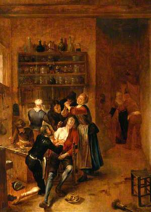 Interior with a Surgeon Attending to a Chest Wound