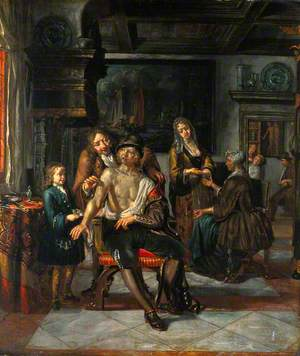Interior of a Surgery with a Surgeon Treating a Wound in the Arm of a Man, with a Boy and Five Other Figures