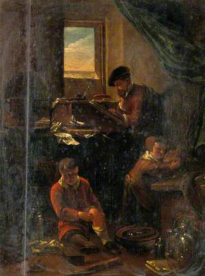 A Philosopher in His Study, with Two Children