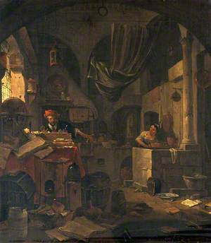 Interior with an Alchemist Making a Gesture of Surprise, and a Female Assistant