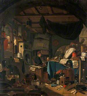 Interior with an Alchemist Seated at a Table, Looking out of the Picture
